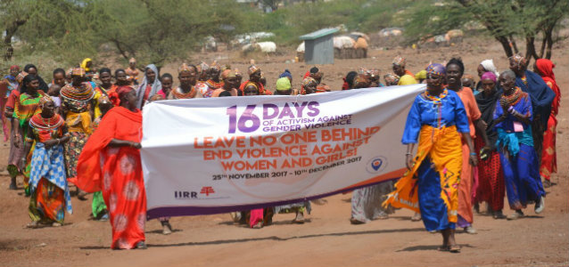 A parade held during the 16 days of Activism against Gender-Based Violence in Loglogo, Kenya. Credit: David Mohammed Roba/IIRR