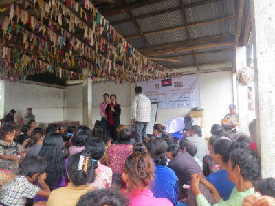 Community Awareness Session given by WHI staff with Commune Chief and the Police present. 17 July 2017.  Photo: World Hope International