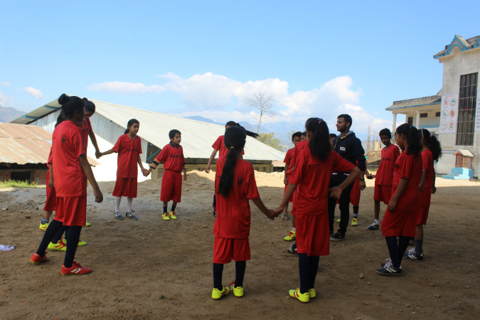 Students participate in a football and GBV coaching session in Nepal. Photo: Thaneshwar Gautam