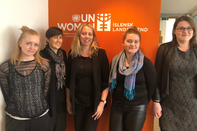 UN Women Iceland National Committee and the Chief of the UN Trust Fund. Credit: Vesna Jaric/UN Trust Fund