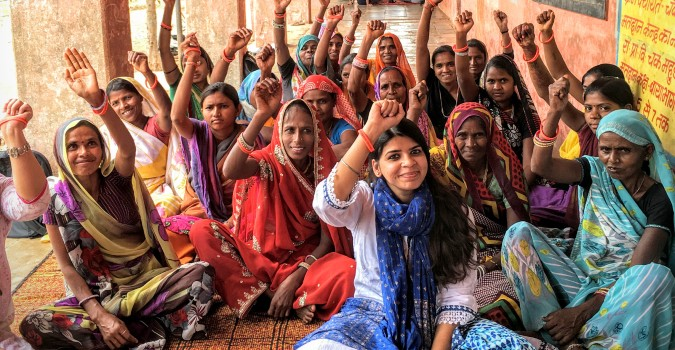 A women's support group in Rajasthan, India discusses topics such as health, nutrition and ending violence against women in a project by UN Trust Fund grantee, Pragya. Photo: UN Women/UN Trust Fund: Tanya Ghani