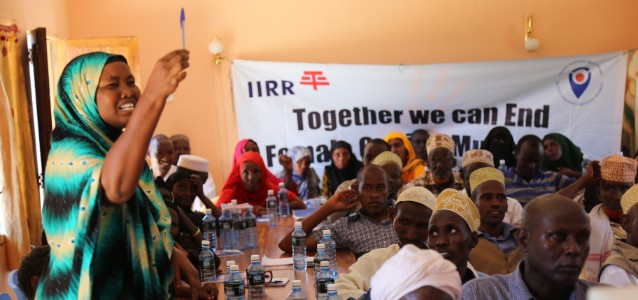 Participants in Kenya take part in an awareness raising meeting as part of IIRR's work to end violence against women and girls in rural areas. Photo: Chrispin Mwatat/IIRR