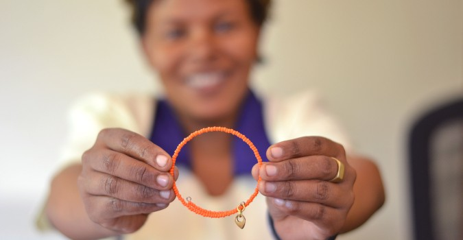 Photo of SOKO bracelet for the UN Trust Fund. Courtesy SOKO