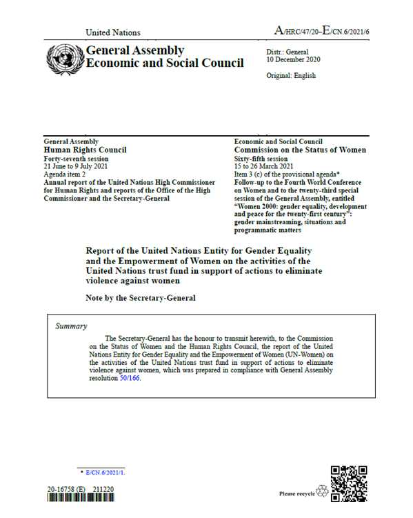 UN Trust Fund Report to the Commission on the Status of Women 2021