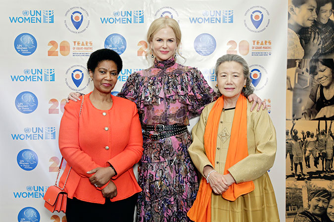 L-R: Phumzile Mlambo-Ngcuka, UN Women Executive Director, Nicole Kidman, UN Women Goodwill Ambassador and Mrs. Ban Soon-taek at UN Trust Fund gala. Photo: UN Women/Ryan Brown