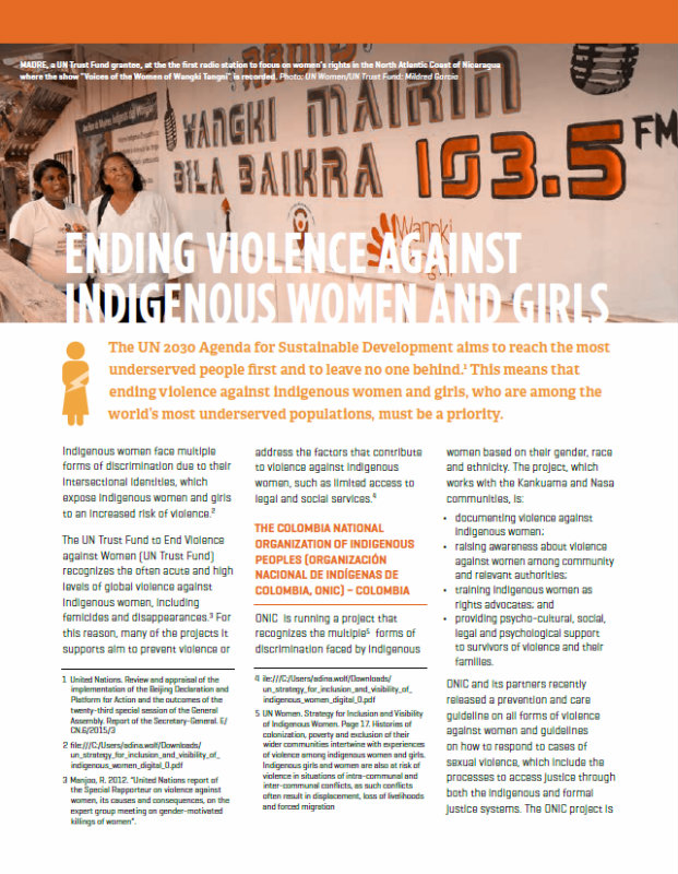 Fact sheet: Ending Violence against Indigenous Women and Girls