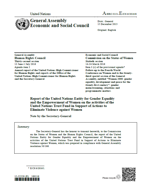 CSW 2016 report cover