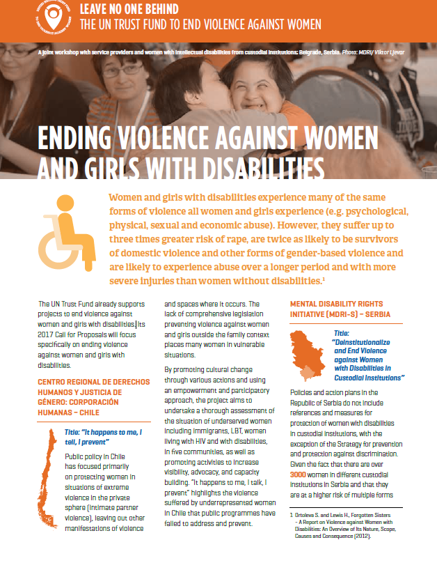 Fact sheet: Ending violence against women and girls with disabilities
