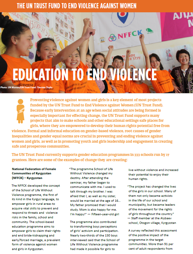 Fact sheet: Education to end violence