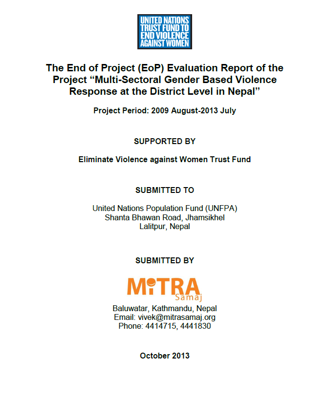 Final Evaluation: Multi-Sectoral Gender-Based Violence Response at the District Level in Nepal