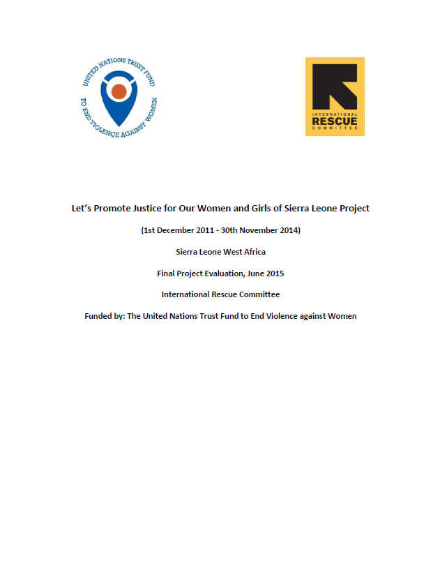 "Final Evaluation: ""Let's Promote Justice for Our Women and Girls of Sierra Leone"""