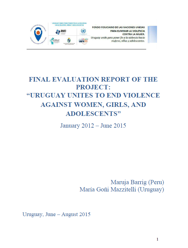 Final Evaluation Uruguay Unites to End Violence Against Women Girls and Adolescents