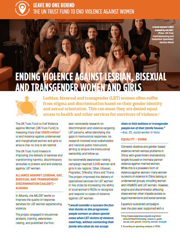 Fact sheet: Ending violence against lesbian, bisexual and transgender women and girls