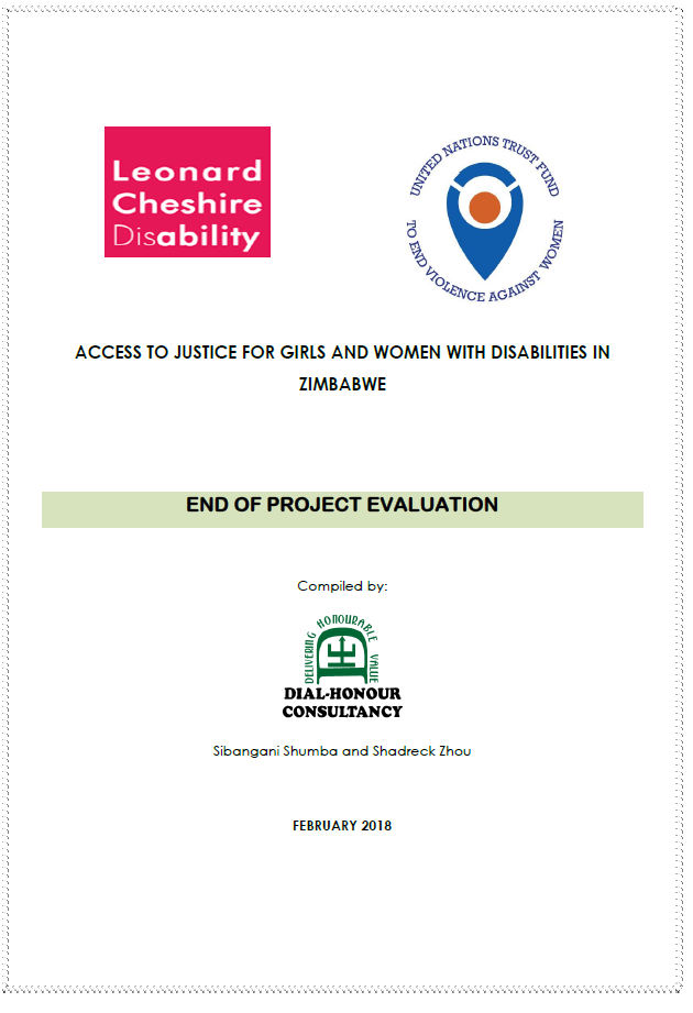 """Final Evaluation: """"Access to Justice for Girls and Women with Disabilities – Zimbabwe"""""""