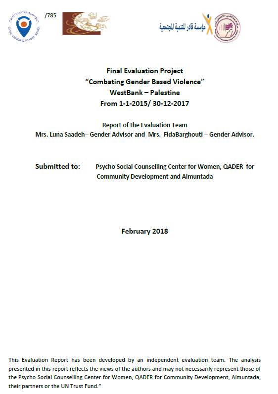 "Final Evaluation: Project ""Combating Gender Based Violence"" West Bank – Palestine"