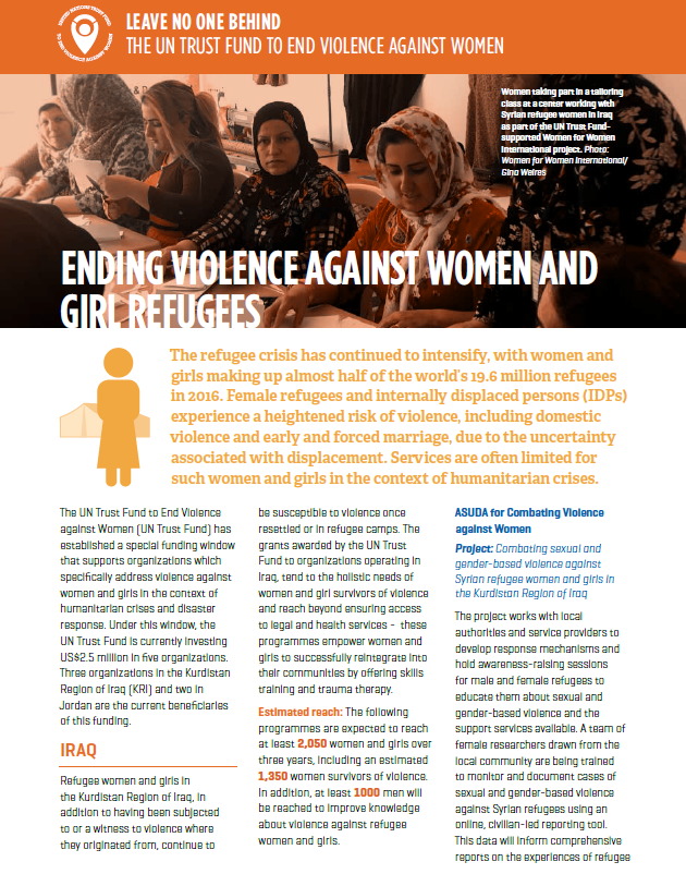 Fact sheet: Ending violence against women and girl refugees