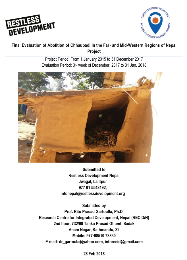"Final Evaluation: ""Abolition of Chhaupadi in the Far- and Mid-Western Regions of Nepal"""