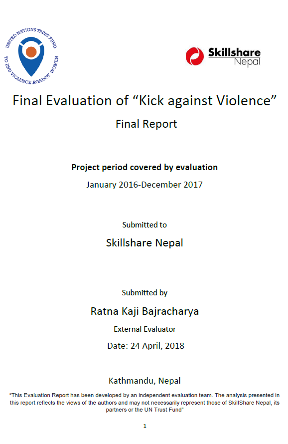 "Final Evaluation: ""Kick against Violence"" (Nepal)"