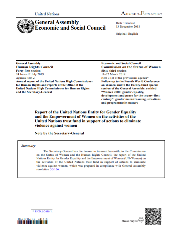 UN Trust Fund Report to the Commission on the Status of Women 2019