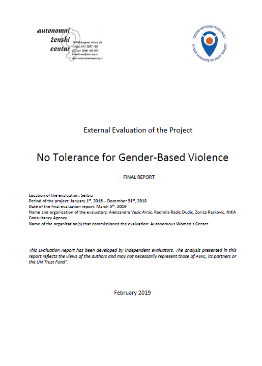 Final Evaluation: No Tolerance for Gender-based Violence (Serbia)