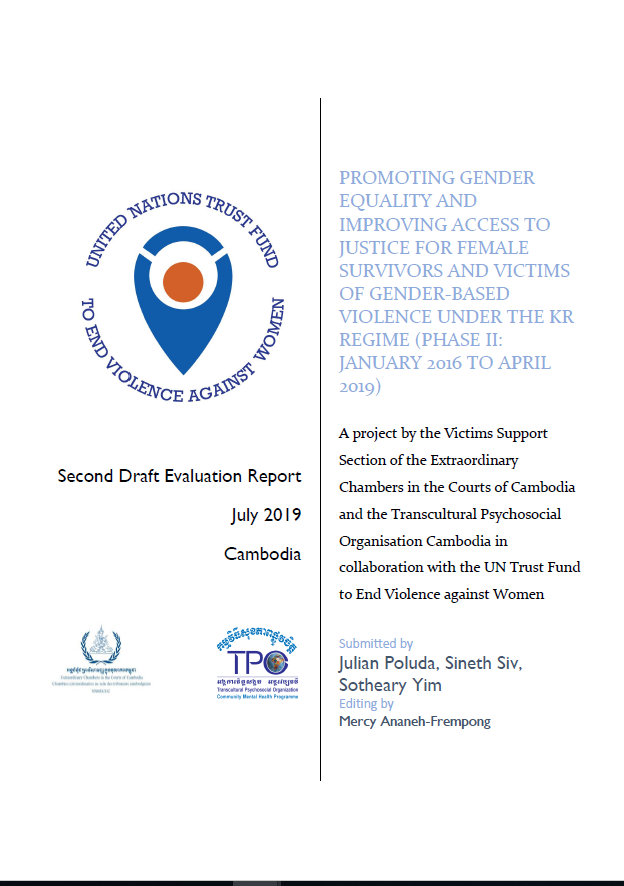 Final Evaluation: Promoting Gender Equality and Improving Access to Justice for Female Survivors and Victims of Gender-based Violence under the Khmer Rouge Regime – Extraordinary Chambers in the Courts of Cambodia (ECCC), Non-Judicial Gender Project (Phase 2)