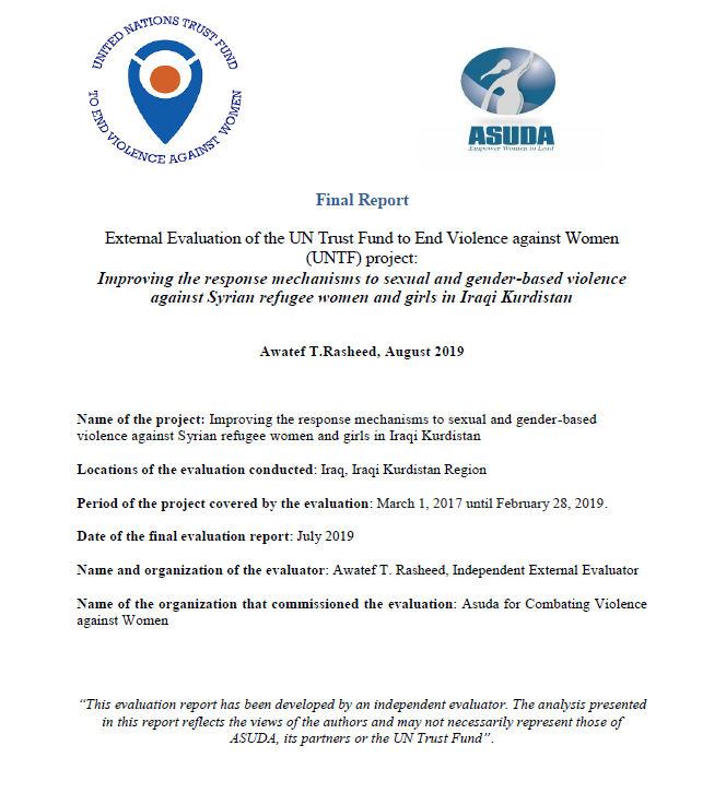 Final Evaluation: Improving the Response Mechanisms to Sexual and Gender-based Violence against Syrian Refugee Women and Girls in Iraqi Kurdistan (Iraq)