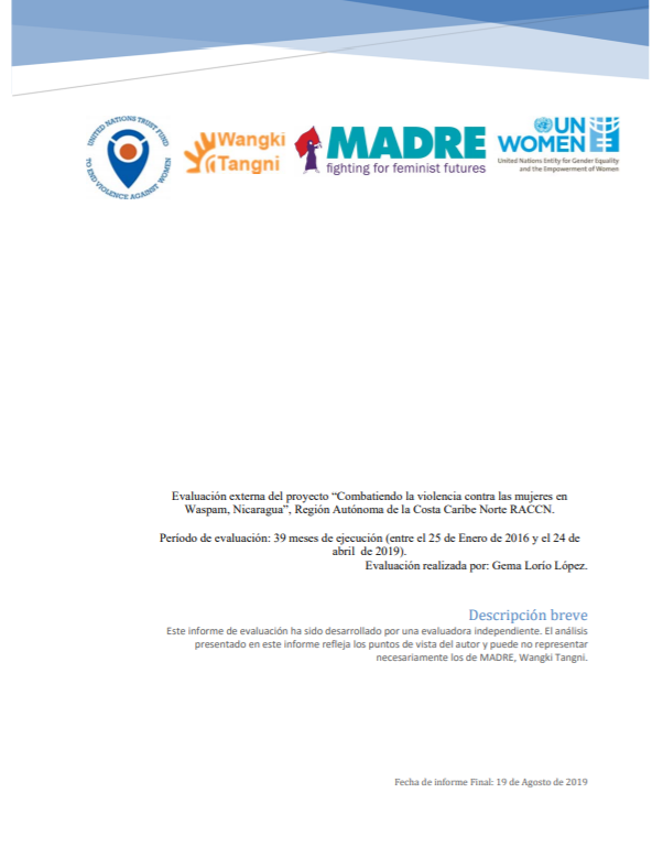 Final Evaluation: Combating Violence against Women in Waspam, Nicaragua
