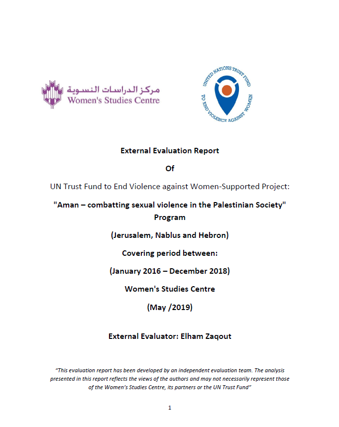 Final Evaluation: AMAN - Combating Sexual Violence in the Palestinian Society  (State of Palestine)