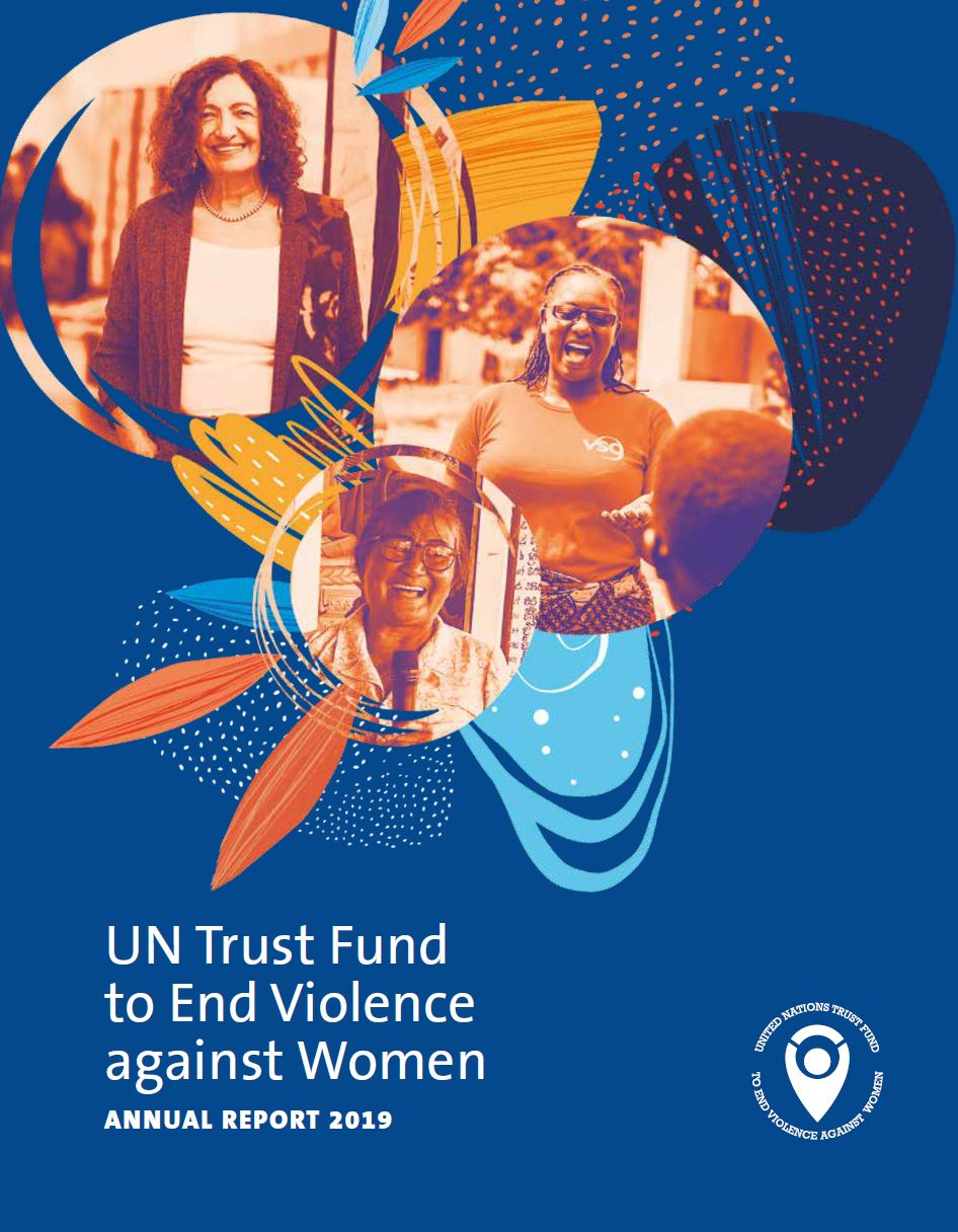 Cover of the UN Trust Fund 2019 Annual Report featuring 3 UN Trust Fund grantees