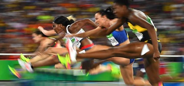 Women hurdlers during the Rio 2016 Olympic Games. Photo: Franck Fife/AFP/Getty