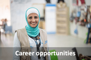 Career opportunities. (Photo: A camp assistant at UN Women's first Oasis—a centre for refugee women and girls to access emergency aid and specialized gender-based violence services at Za'atari refugee camp in northern Jordan, October 2018. Credit: UN Women/Christopher Herwig.)