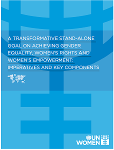 Cover of UN Women long paper on a transformative stand-alone goal on achieving gender equality