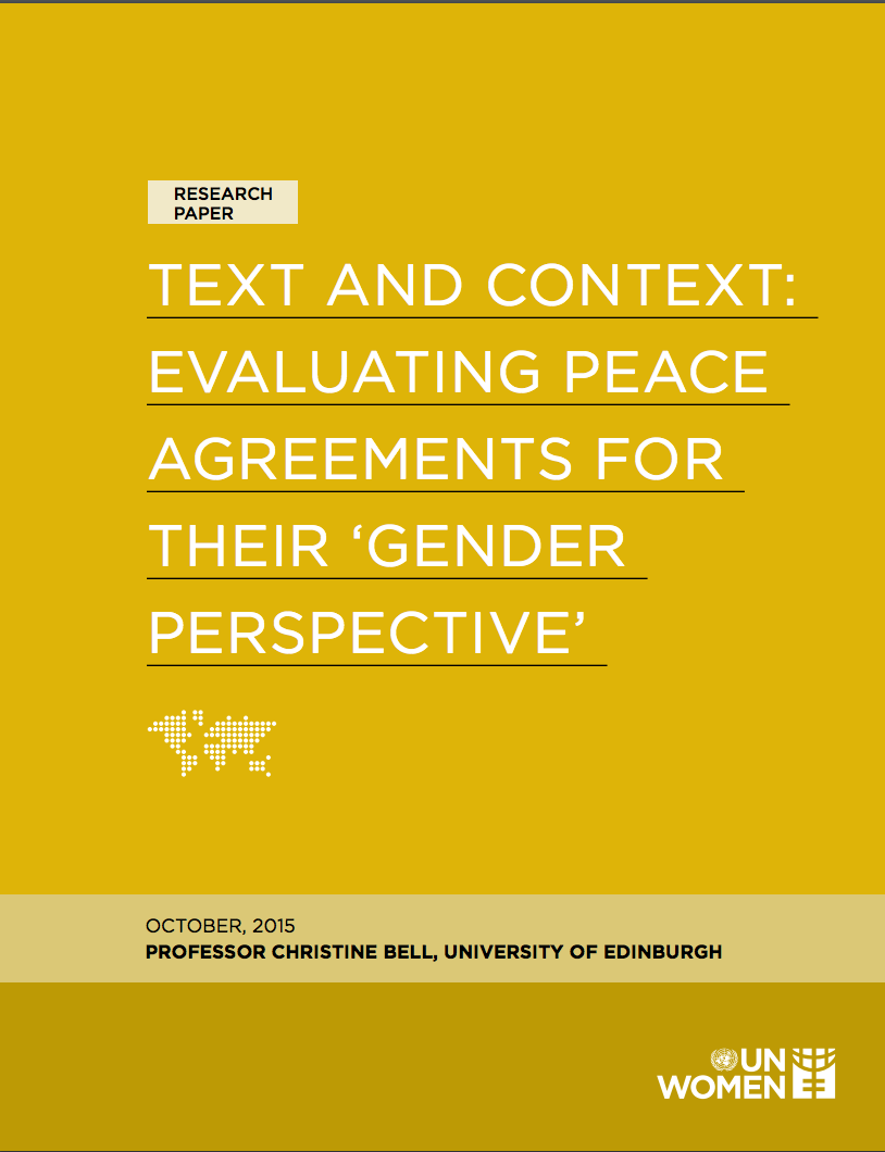 Text and context: Evaluating peace agreements for their 'gender perspective'
