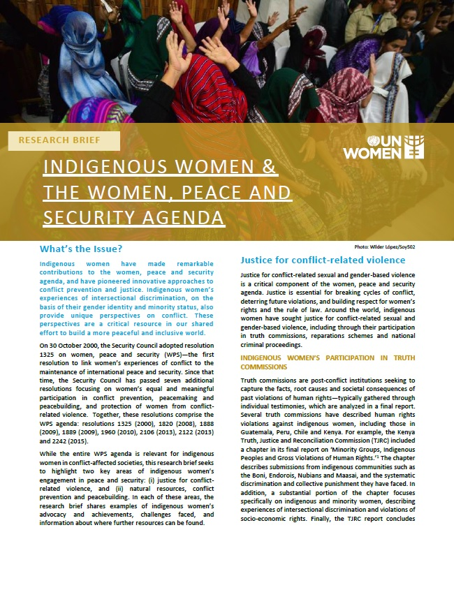 Indigenous women and the women, peace and security agenda