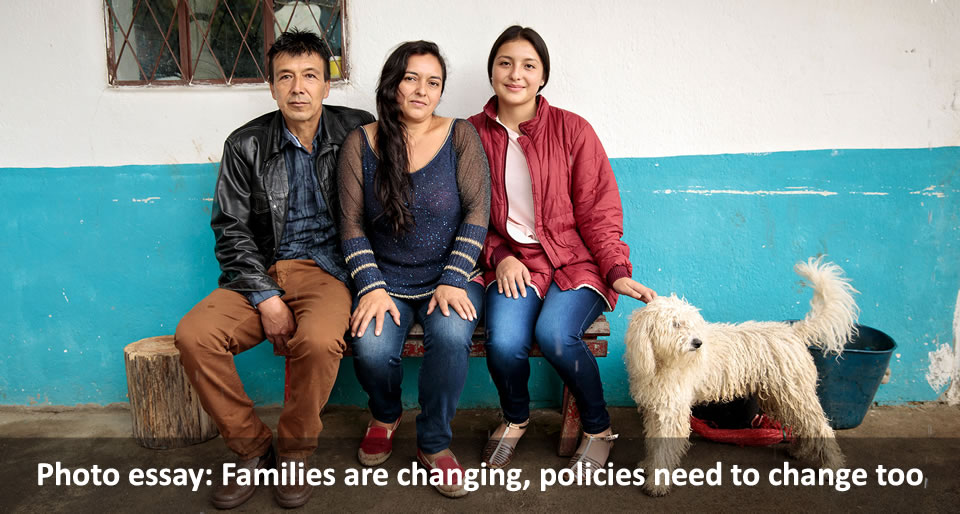 Photo essay: Families are changing, policies need to change too. Cielo Gomez (center) and her family live in the municipality of El Tablón de Gómez, in the southeast of Nariño territory, Colombia. Photo: UN Women/Ryan Brown.