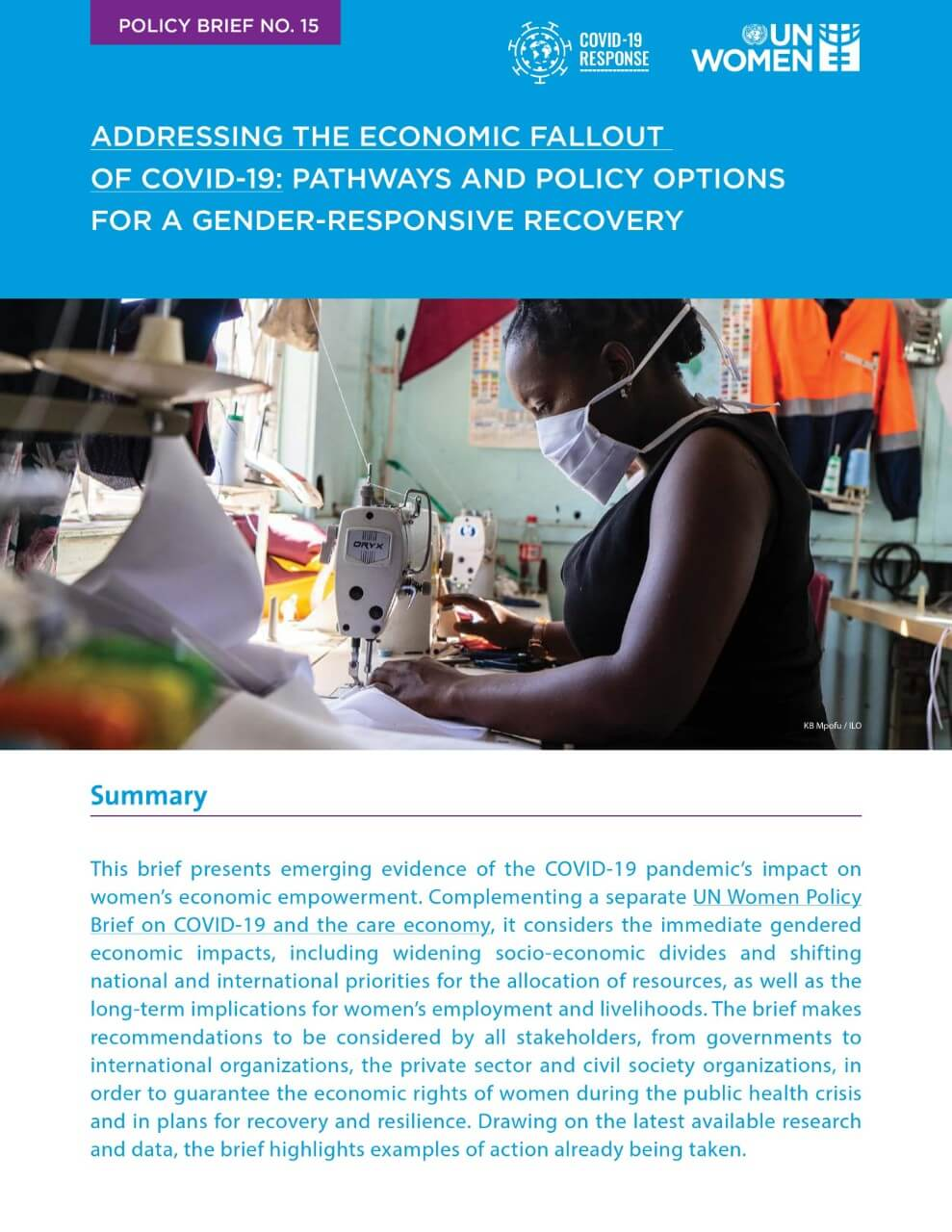 Addressing the economic fallout of COVID-19: Pathways and policy options for a gender-responsive recovery