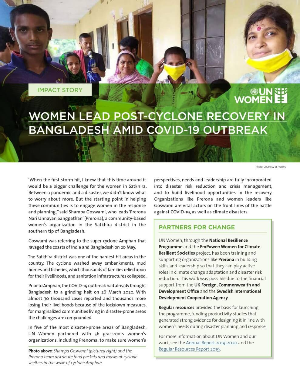 UN Women impact story: Women lead post-cyclone recovery in Bangladesh amid COVID-19 outbreak