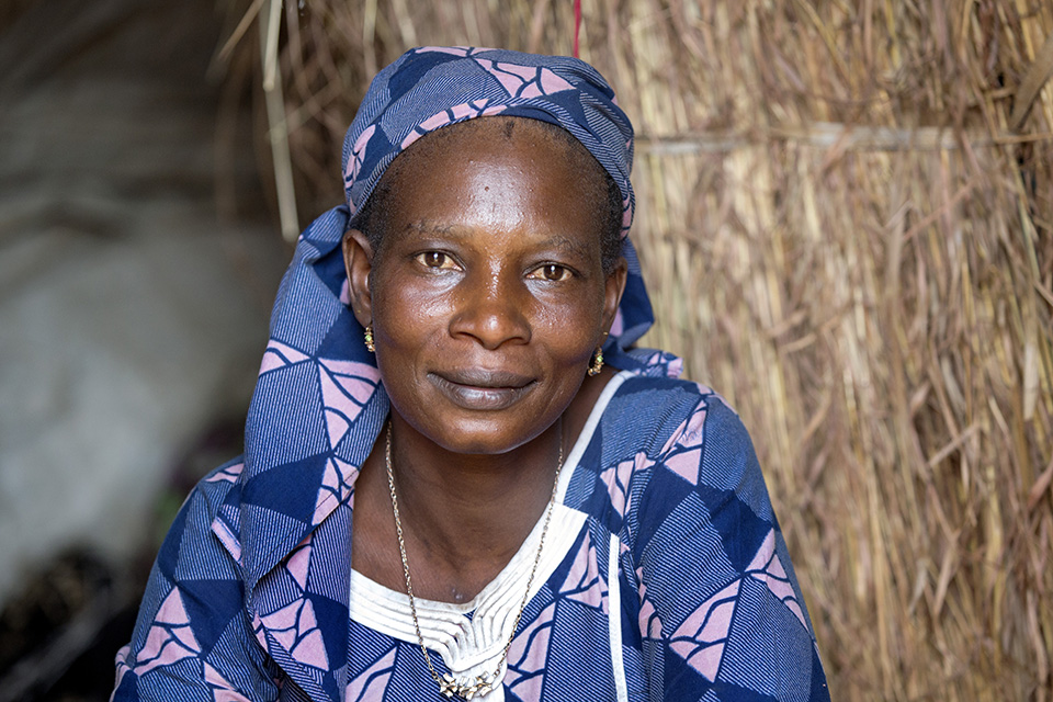 Nene Daouda is a 38-year-old widow who lost her husband in CAR during the war. Photo: UN Women/Ryan Brown