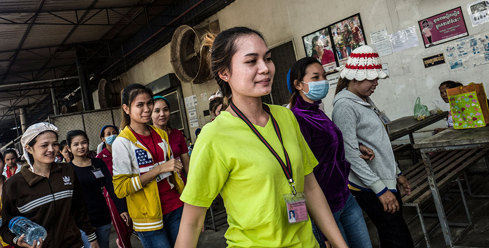 Chhun Srey Sros, 24, lives in Sangkat Chaom Chao and works in a Cambodian factory where UN Trust Fund and its partner, CARE, have developed and distributed educational materials and a sexual harassment policy for the work place. Photo: UN Women/Charles Fox