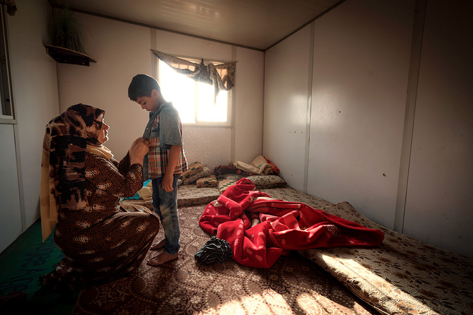 Za'atari refugee camp, Jordan, 2015 Photo: UN Women/Christopher Herwig