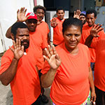 Members of the Safe Cities Programme in Port Moresby, Papua New Guinea, launched a song competition to advocate against violence against women and girls. Photo: UN Women