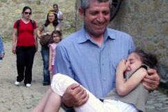 Father holding daughter in Turkey