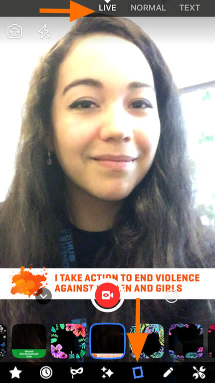 Facebook Live filter - Orange - 16 Days of Activism against Gender Violence