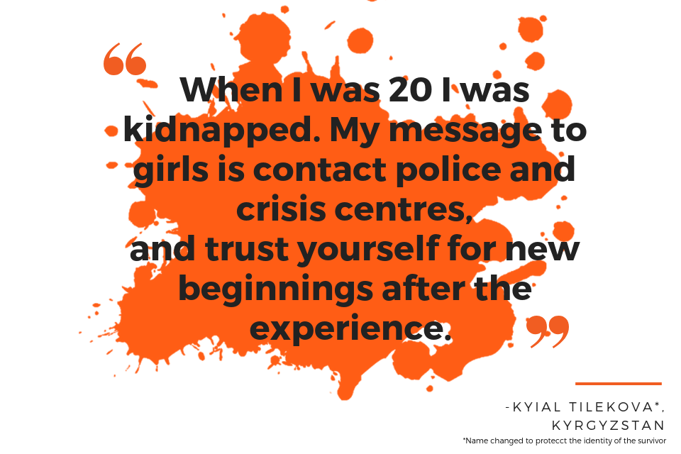 When  I was 20 I was kidnapped. My message to girls is contact police and crisis centres, and trust yourself for new beginnings after the experience.  - Kyial Tilekova*, name has been changed to protect the identity of the individual