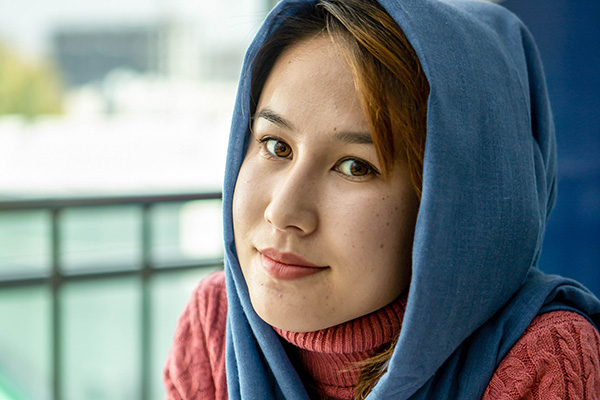 Freshta, a young Afghan woman who earned a scholarship to study in a neighboring country. Photo: UNDP Kazakhstan