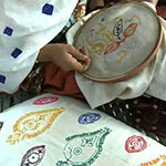 Survivors practice embroidery in rural Pakistan