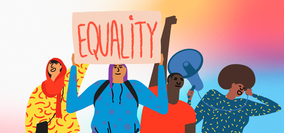 """Illustration showing activists holding up a sign that says """"Equality!"""""""