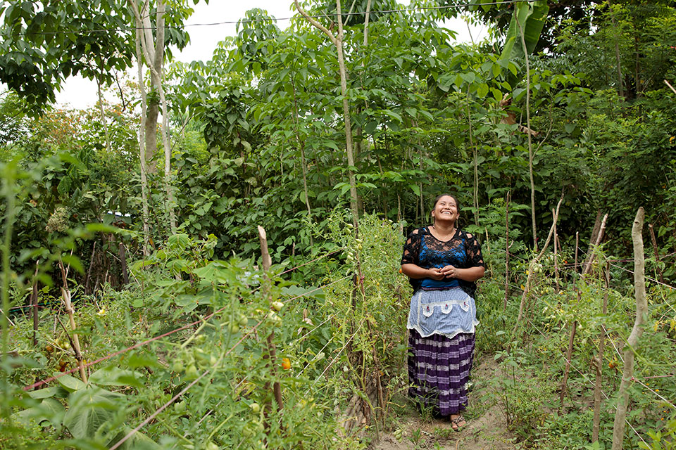 A woman walks through greenery in Guatemala. Photo: UN Women/Ryan Brown