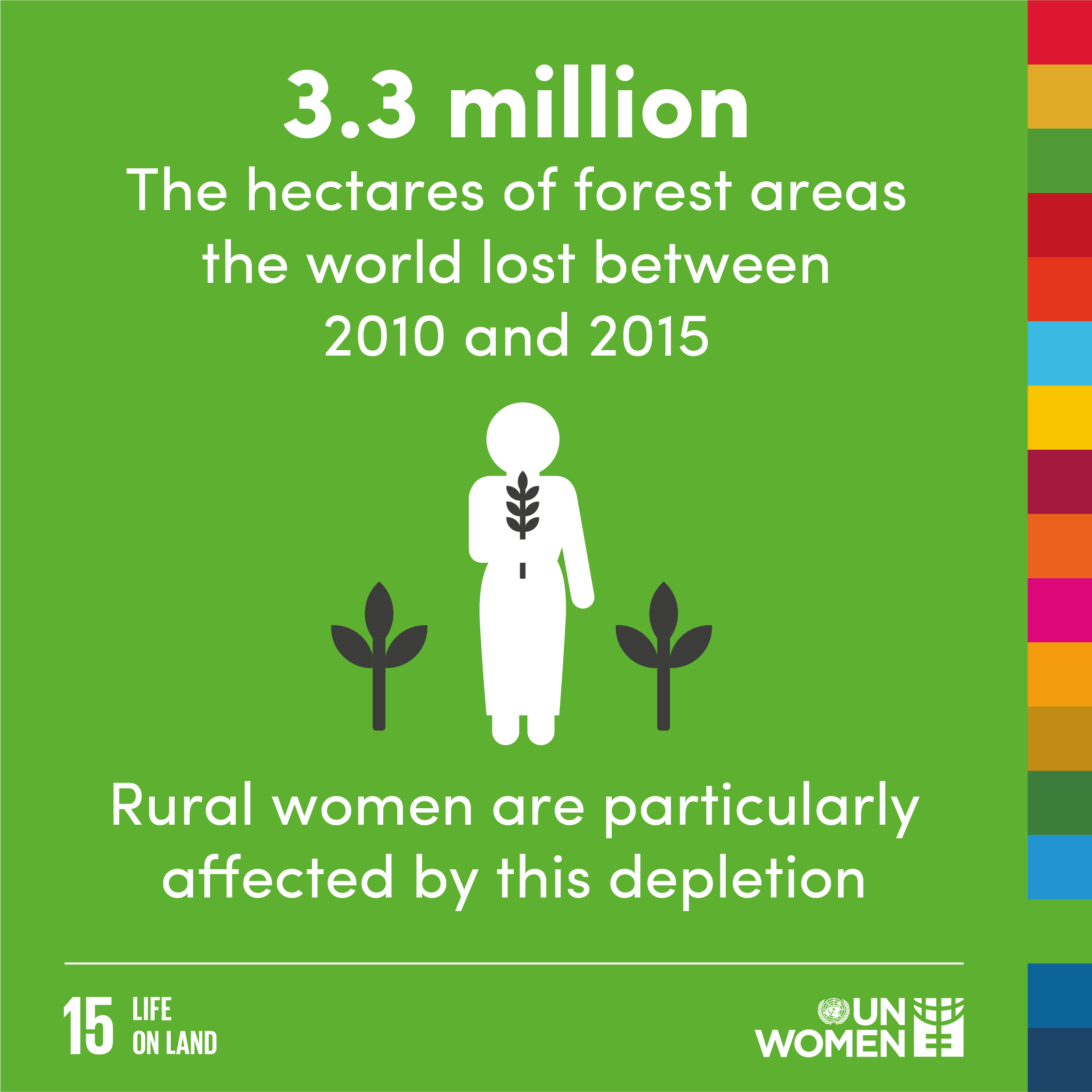 3.3 million. the hectares of forest areas the world lost between 2000 and 2015. rural women are particularly affected by this depletion.