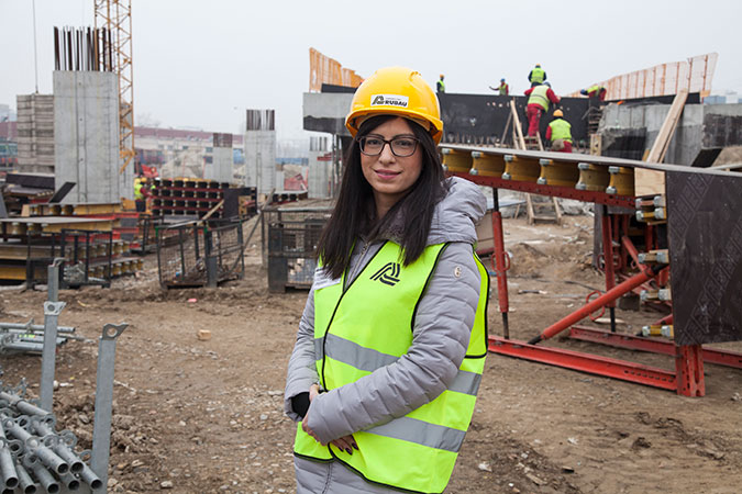Mima Milosavljevic 32 y.o. Social Impact manager on a bridge construction project commissioned by the Belgrade Municipality. The bridge will connect the north road with the Sava river bridge easing the urban highway traffic in the city of Belgrade. Serbia, Dec. 16, 2016 Photo: UN Women/Rena Effendi